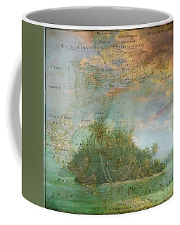 Coffee Mug featuring the photograph Antique Vintage Map Of North America Tropical Ocean by Debra and Dave Vanderlaan