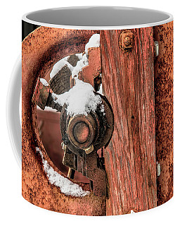 Antique Wagon Axle And Snow Coffee Mug by Gary Slawsky