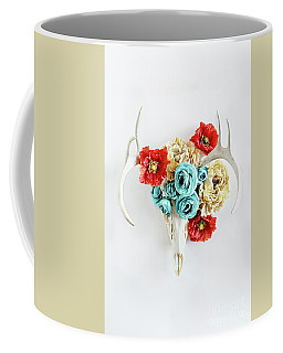 Antlers And Florals Coffee Mug by Stephanie Frey