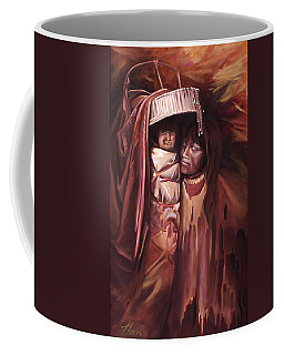 Coffee Mug featuring the painting Apache Girl And Papoose by Nancy Griswold