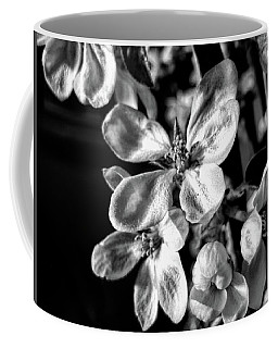 Apple Blossom - Black And White Coffee Mug by Kathy Bassett
