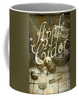 Apple Cider Sign Printed On Rustic Wood Planks Coffee Mug