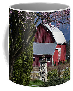 Apple Tree Pink And Barn Red Coffee Mug