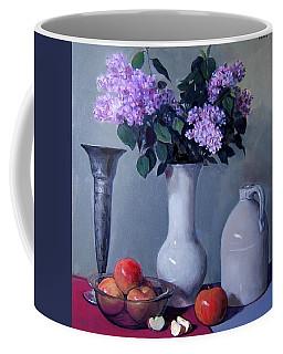 Apples And Lilacs, Silver Vase, Vintage Stoneware Jug Coffee Mug