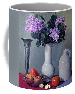 Apples And Lilacs,silver Vase,vintage Stoneware Jug Coffee Mug