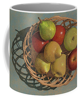 Coffee Mug featuring the painting Apples And Pears In A Wicker Basket  by John Dyess