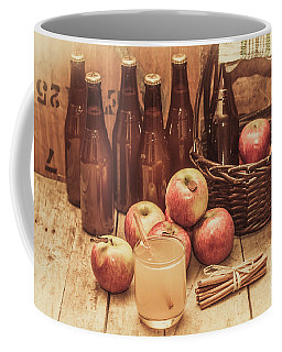 Apples Cider By Wicker Basket On Wooden Table Coffee Mug