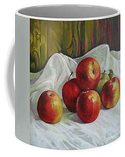 Coffee Mug featuring the painting Apples by Elena Oleniuc