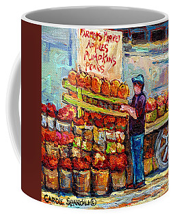 Apple Picking Time At Farmer's Fruit Stand Market Scene Canadian Paintings C Spandau Artist         Coffee Mug