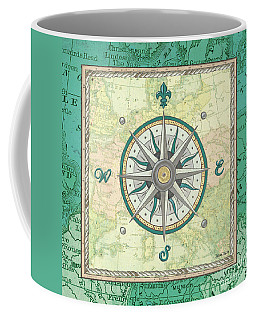 Aqua Maritime Compass Coffee Mug