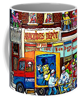 Arachides Depot Candy Shop Painting Rue De L'eglise Verdun Montreal Hockey Art Carole Spandau        Coffee Mug