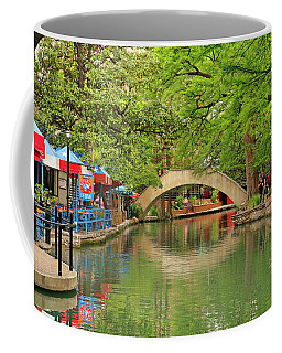 Coffee Mug featuring the photograph Arched Bridge Reflection - San Antonio by Art Block Collections