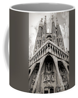 Architecture Antoni Gaudi La Sagrada Familia Barcelona Spain Sepia  Coffee Mug