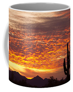Arizona November Sunrise With Saguaro   Coffee Mug