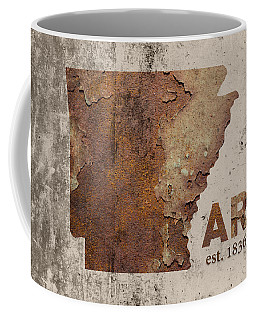 Arkansas State Map Industrial Rusted Metal On Cement Wall With Founding Date Series 034 Coffee Mug