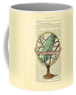 Armillary Sphere In Color Antique Illustration On Book Page Coffee Mug