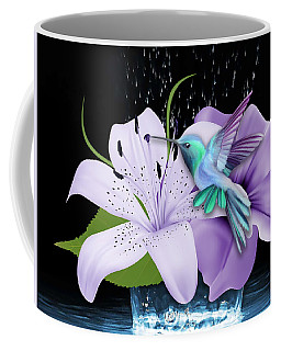 Coffee Mug featuring the mixed media Arrival Hummingbird by Marvin Blaine