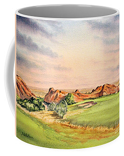 Coffee Mug featuring the painting Arrowhead Golf Course Colorado Hole 3 by Bill Holkham