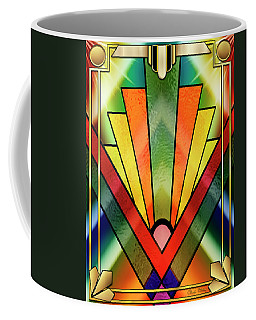 Coffee Mug featuring the digital art Art Deco Chevron 2 V by Chuck Staley