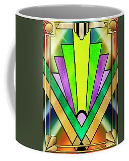 Coffee Mug featuring the digital art Art Deco Chevron 3 V by Chuck Staley