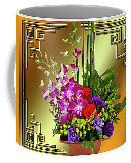 Coffee Mug featuring the digital art Art Deco Floral Arrangement by Chuck Staley