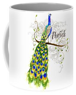 Art Nouveau Peacock W Swirl Tree Branch And Scrolls Coffee Mug