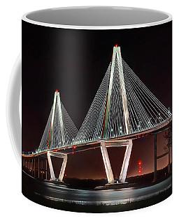 Coffee Mug featuring the photograph Arthur Ravenel Jr. Bridge At Midnight by George Randy Bass