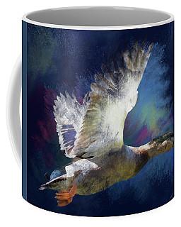 Artistic Duck In Flight Coffee Mug