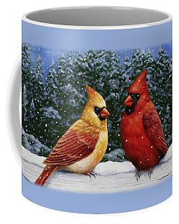 Bird Painting - Christmas Cardinals Coffee Mug
