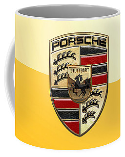 Porsche - 3d Badge On Yellow Coffee Mug