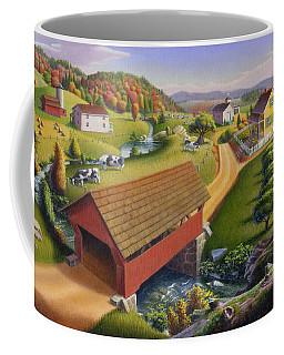 Folk Art Covered Bridge Appalachian Country Farm Summer Landscape - Appalachia - Rural Americana Coffee Mug