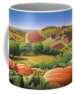 Farm Landscape - Autumn Rural Country Pumpkins Folk Art - Appalachian Americana - Fall Pumpkin Patch Coffee Mug