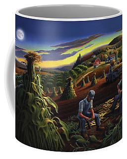 Autumn Farmers Shucking Corn Appalachian Rural Farm Country Harvesting Landscape - Harvest Folk Art Coffee Mug