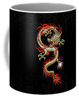 Golden Chinese Dragon Fucanglong On Black Silk Coffee Mug