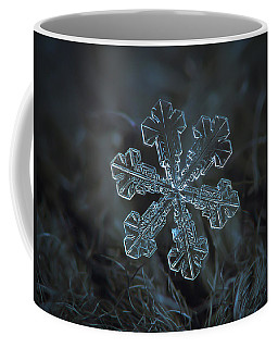 Coffee Mug featuring the photograph Snowflake Photo - Vega by Alexey Kljatov