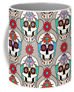 Coffee Mug featuring the digital art Sugar Skulls Pattern by MM Anderson