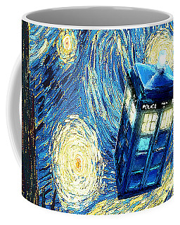Weird Flying Phone Booth Starry The Night Coffee Mug