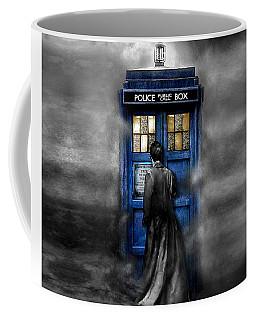 Mysterious Time Traveller With Black Jacket Coffee Mug