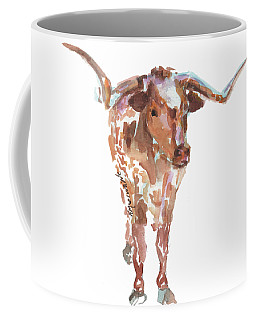 The Original Longhorn Standing Earth Quack Watercolor Painting By Kmcelwaine Coffee Mug
