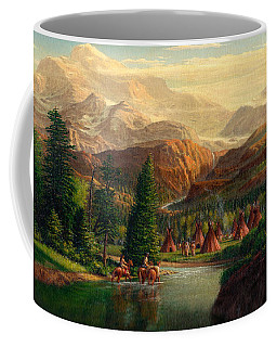 Indian Village Trapper Western Mountain Landscape Oil Painting - Native Americans Americana Stream Coffee Mug
