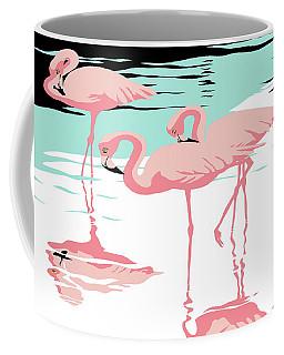 Pink Flamingos Tropical 1980s Abstract Pop Art Nouveau Graphic Art Retro Stylized Florida Print Coffee Mug