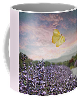 Lavender Field Pink And Blue Sunset And Yellow Butterfly Coffee Mug by Brooke T Ryan