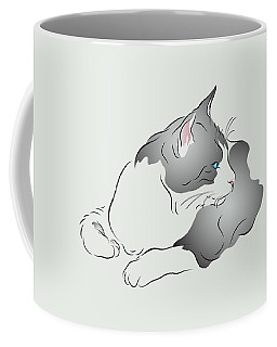 Grey And White Cat In Profile Graphic Coffee Mug