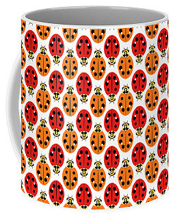 Ladybug Pattern In Orange And Red Coffee Mug