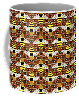Coffee Mug featuring the digital art Bees And Honeycomb Pattern by MM Anderson