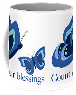 Blue Butterflies Count Your Blessings Coffee Mug