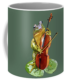 Humorous Scene Frog Playing Cello In Lily Pond Coffee Mug