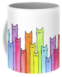 Cat Rainbow Watercolor Pattern Coffee Mug