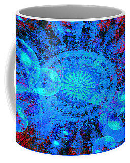 Coffee Mug featuring the digital art Blue And Red Mandala by Fine Art By Andrew David
