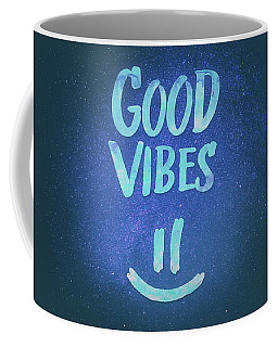 Good Vibes  Funny Smiley Statement Happy Face Blue Stars Edit Coffee Mug